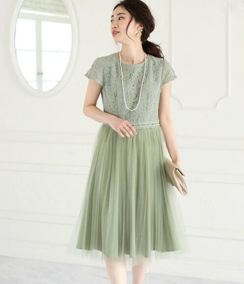 2color Green OR Black セレモニー・結婚式ドレス◆レース×チュールプリーツワンピース