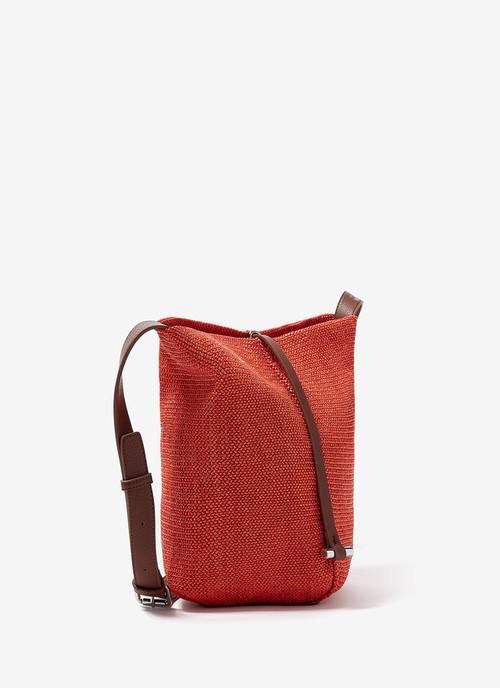 BUCKET BAG WITH RAFFIA FINISH