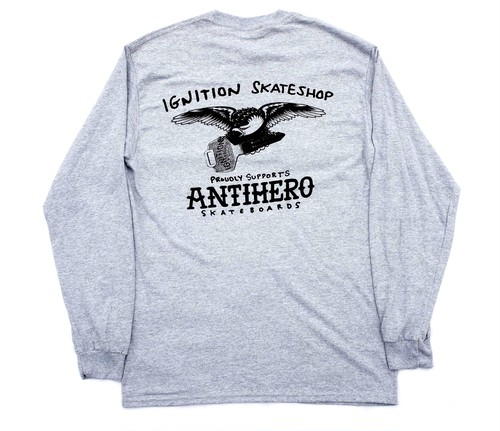 IGNITION SKATE SHOP ANTI HERO 1-8 SUPPORT L/S T-SHIRTS L ロングTシャツ GREY