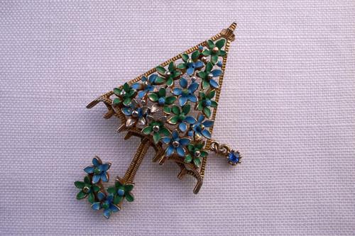 ブローチ umbrella blue/green