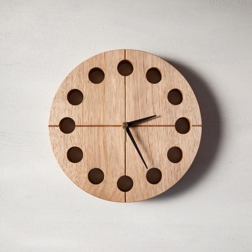 木の時計マル(Φ240) No15 | クルミ【針、選択可】