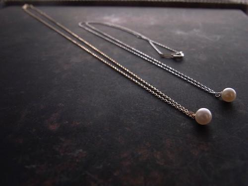 K18YG小さなアコヤ本真珠のチェーンネックレス