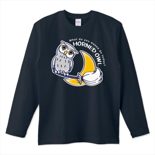 キャラT72  夜の誘惑 HORNED OWL  *長袖Tシャツ *ホワイトインク