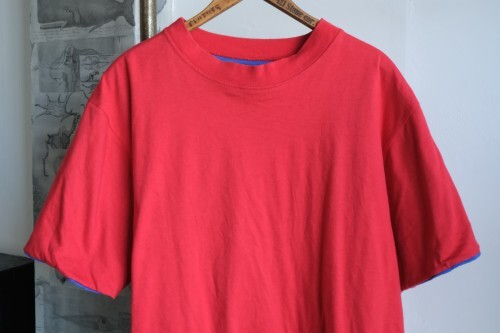 """90's LANDS' END reversible cotton Tee """"RED × BLUE"""""""