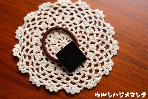漆のヘアゴム【黒】(四角・大) / Square-shaped hair elastic in black URUSHI[L]