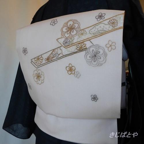 正絹紗 薄桜色に刺繍の紗なごや