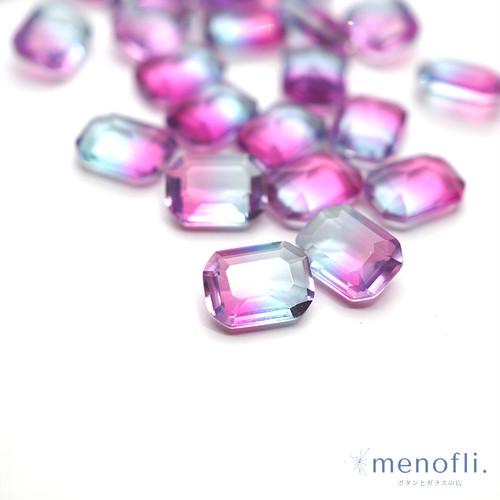 1pc 長方形 グラデーション ピンク・水色 8*6 チャイナガラス ラインストーン グラスストーン