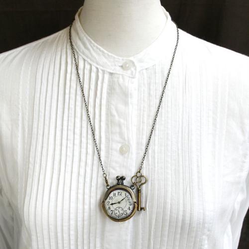 【即納】時計がま口ミニ 鍵のネックレス アラビア数字金時計 - 金星灯百貨店