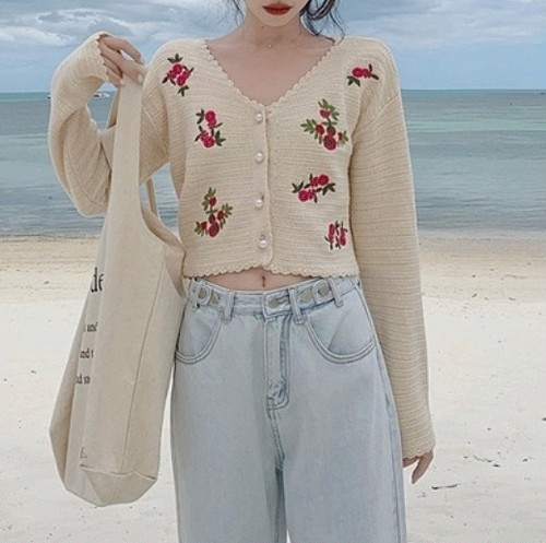embroidery cardigan 2color