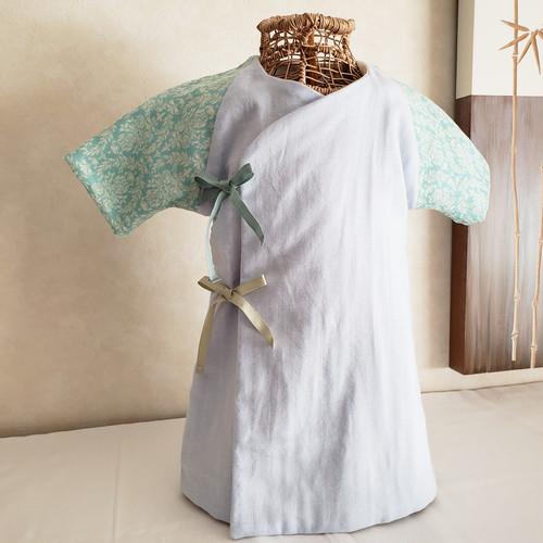 【再販】リバーシブル新生児用長肌着(50~70cm)ダマスク