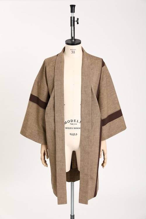 羽織 / 片貝木綿 / One line / Brown(With tailoring)