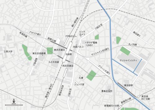 東京 池袋 地図フリー素材A4(eps)