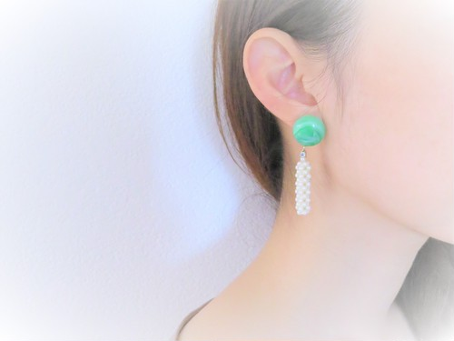 vintage pierced earrings pearl <PE-GRPL>
