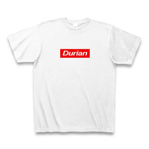 送料無料 ドリアンTシャツ Durian 赤ロゴ ホワイト おもしろい パロディTシャツ【DTALW】
