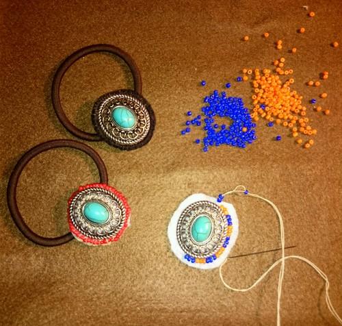 刺繍 コンチョゴム ヘアゴム ブレスレット ターコイズブルービーズ ネイティブ風オルテガ