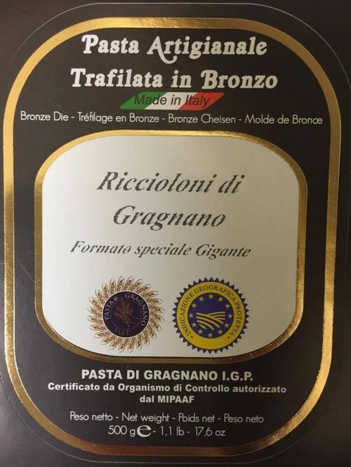 伝統製法のリッチョローニ(長い時間をかけて乾燥させ最高の食感をだしております)セモリナ100%使用