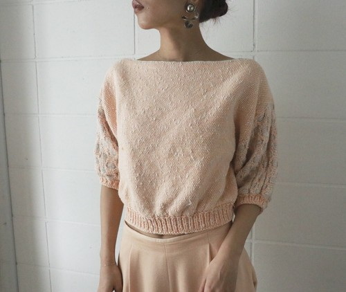 salmon pink croped knit