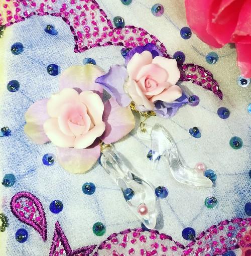 薔薇姫のガラスの靴イヤリング