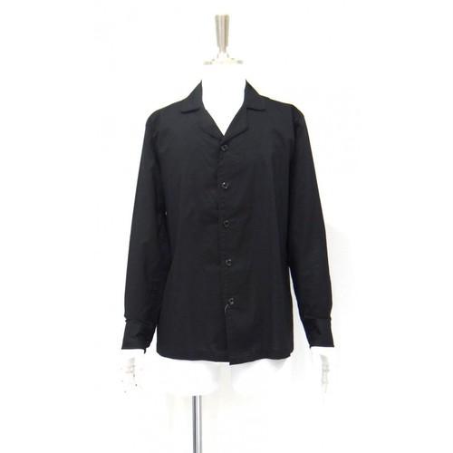ボウリングシャツ シャツ メンズ 黒シャツ 長袖 綿 コットン 100% 黒 サイズ S 38cm M 40cm
