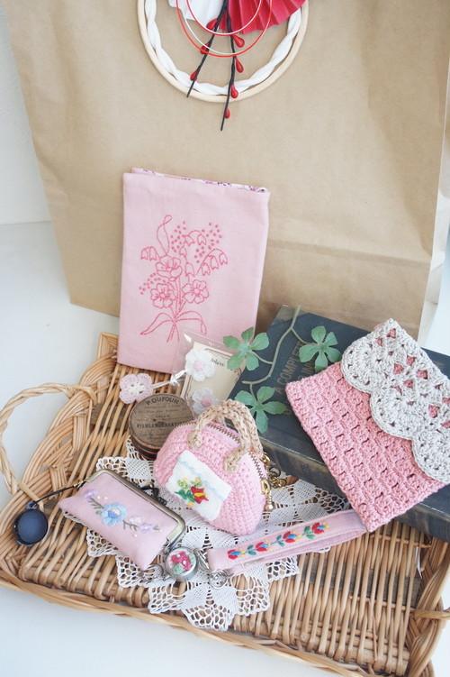 【福袋】刺繍のブックカバー(ピンク)のセット♪