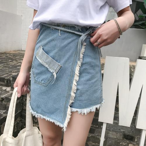 【お取り寄せ商品】A line denim skirt pants 6237