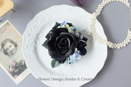 卒業式・入学式に♡ブラックローズとオリーブのコサージュ(ヘッドドレス可) コサージュ 結婚式 フォーマル 黒 ブラック
