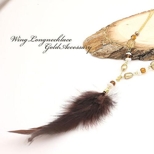 羽×淡水パールのロングネックレス