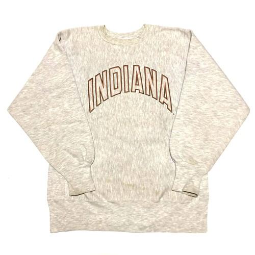 90's チャンピオン リバースウィーブ スウェット ビッグロゴ ビンテージ Champion REVERSE WEAVE SWEAT USA製刺繍タグ(グレー,L)インディアナ州立大学