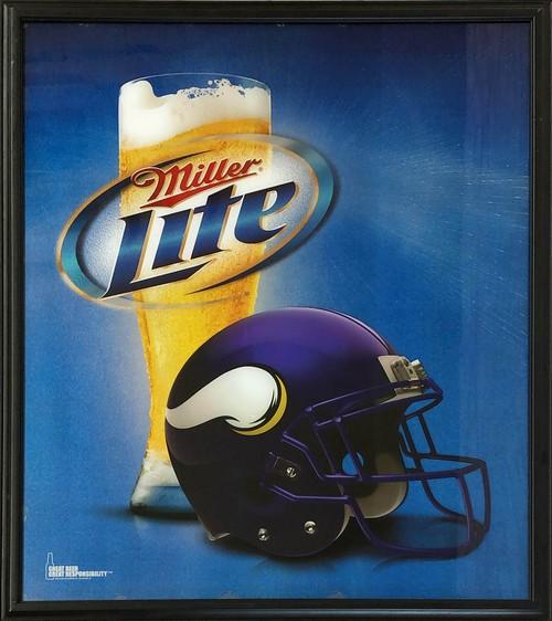 品番0583 サインボード 『Miller Lite・NFL バイキングス』 ミラーライトビール 壁掛 看板 アメリカン雑貨 ヴィンテージ