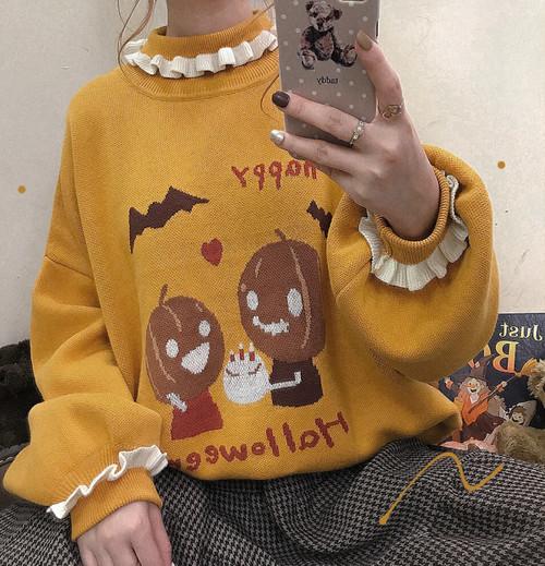 【トップス】学園風可愛い配色ランタンスリーブハロウィンニットセーター