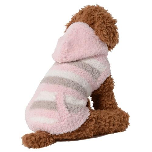 【ご好評につき送料無料 1月31日まで】 犬服(ドッグウェア) ペット服 ふわふわニット パーカー ボーダー マルチピンク