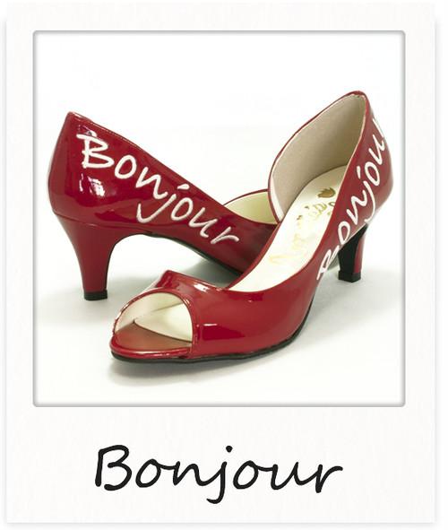 サイドオープントゥパンプス【Bonjour】 / レッド