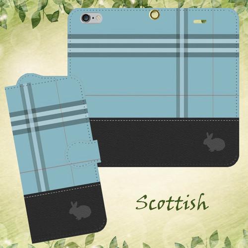 レザー風×タータン Scottish ブルー うさぎシルエット 手帳型スマホケース iPhone/Android