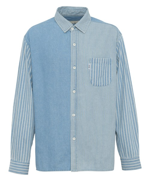 CRAZY STRIPE PATTERN DENIM SHIRTS[RES060]