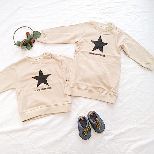 星柄裏毛トレーナー&トレーナーチュニック 双子ベビー服2枚セット ミックスツイン (ベージュ)<20aw-mt007f-G>