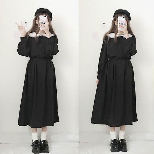 【ワンピース】日系スウィートレトロ配色長袖折り襟ロングワンピース