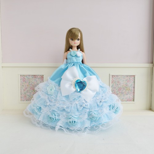 リカちゃんパーティドレス(水色4)