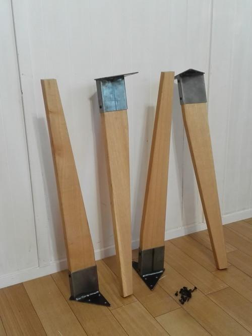 アイアンレッグテーパー 未塗装 オーク無垢 DIY素材 鉄脚 テーブル脚 4本セット 鉄足