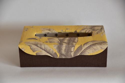 再販【カルトナージュ】Jim Thompson(ジム・トンプソン)のティッシュボックス  イエロー×ブラウン