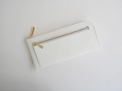 薄くて軽くて大容量なL字長財布 14枚カードポケット 牛革クロコ型押し ホワイト Squeeze