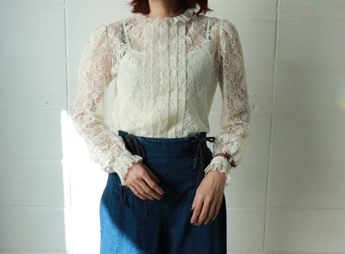 off white laced frill blouse