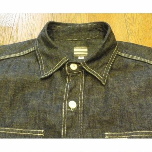 MOMOTARO JEANS デニム ブラック ワークシャツ (40)  ★送料無料 !! (クリックポスト不可)