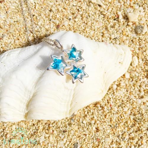 silver925星の願いネックレス(海色)