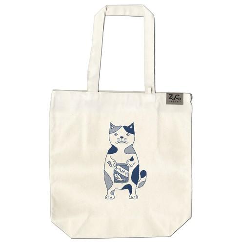 【ポケット付トートバッグ】ネコおっさん ふりかけ