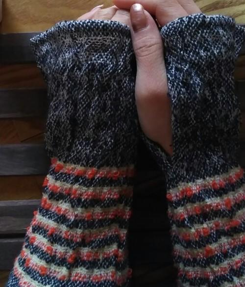 カシミヤ手織りアームウォーマー  N45