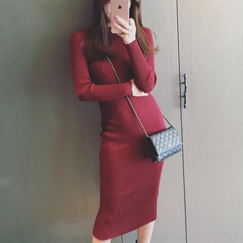 【ワンピース】ファッション秋冬長袖ラウンドネック無地プルオーバーニットワンピース23292281