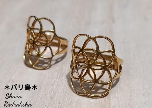 買い付け品【シードオブライフ】真鍮24KGP★リング12号
