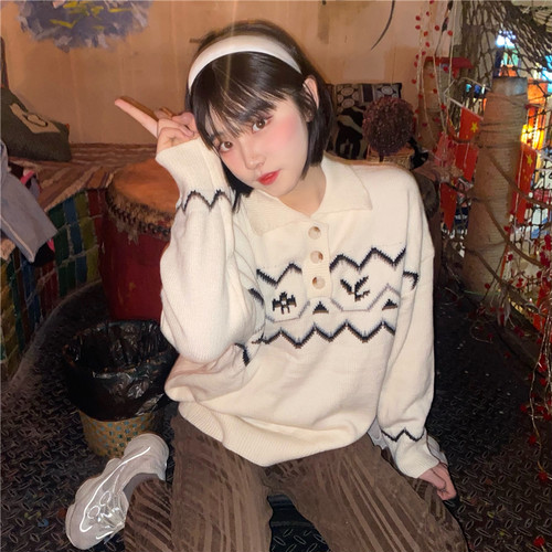 ファンアート 長袖 韓国ファッション スウィート 着回し力抜群 柔らか 上品 清新 ニット・セーター・トップス