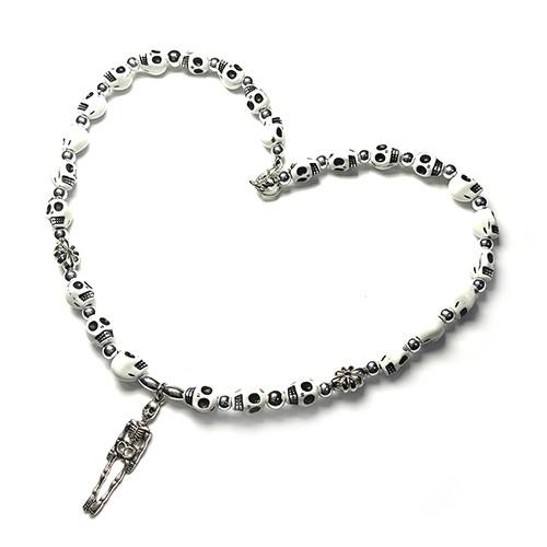SAD44mg「 Skull WH 」Handmade Necklace