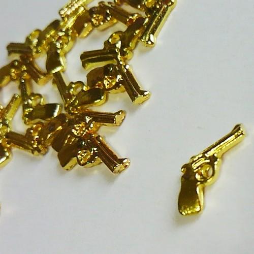 ネイルサイズ立体メタルパーツ・銃(2個入り) [B01-019]